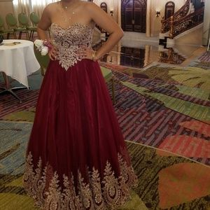 Strapless maroon and gold Prom Dress